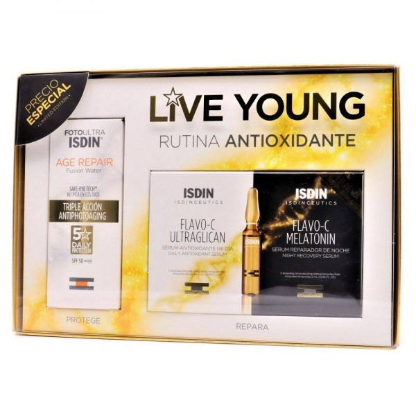 isdin pack live young age repair 50mlflavo c ultraglican 5